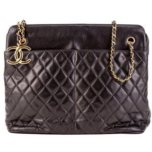 Chanel Vintage Quilted Black Shopping Shoulder Bag